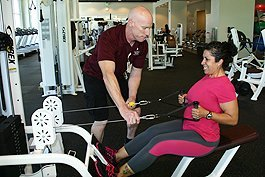 Sophia Lucio, a medical assistant at the Deran Koligian Ambulatory Care Center is working out