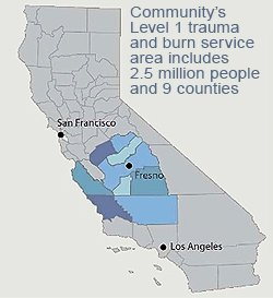 Map of Community Regional Medical Centers serviceable areas